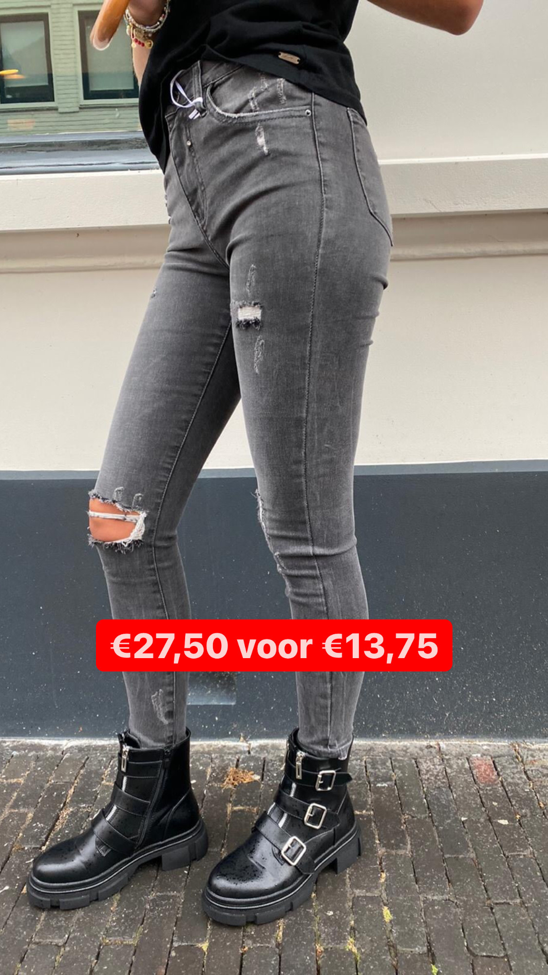 9170 Queen Heart Jeans High Waist Grey