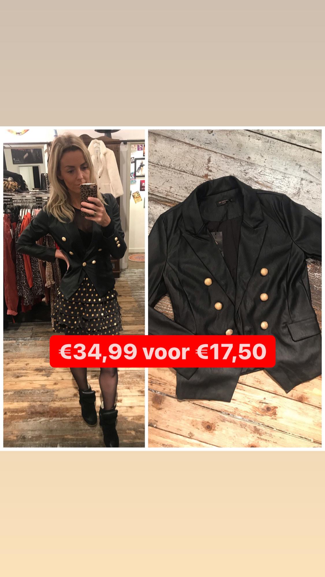 2095 In Voque Blazer Leather Golden Button Black