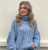 2103 Fringle Cable Sweater Col Blue