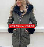 7007 Copperose  Faux Fur Jacket Green