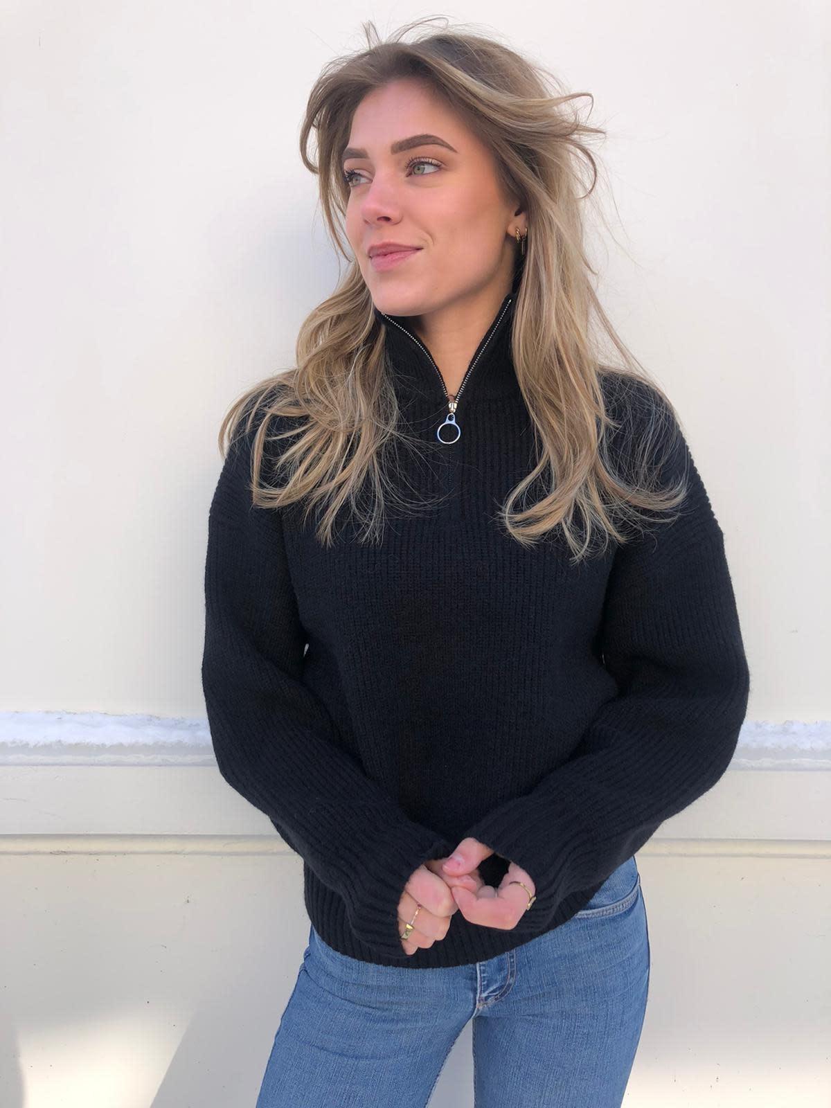3270 Ambika Zip Sweater Black