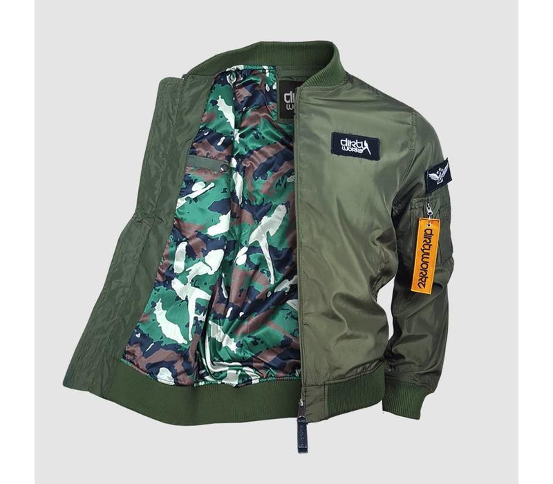 Dirty Workz - Army Green  Bomber Jacket
