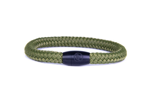 Hard Driver - Green Steel & Rope Bracelet