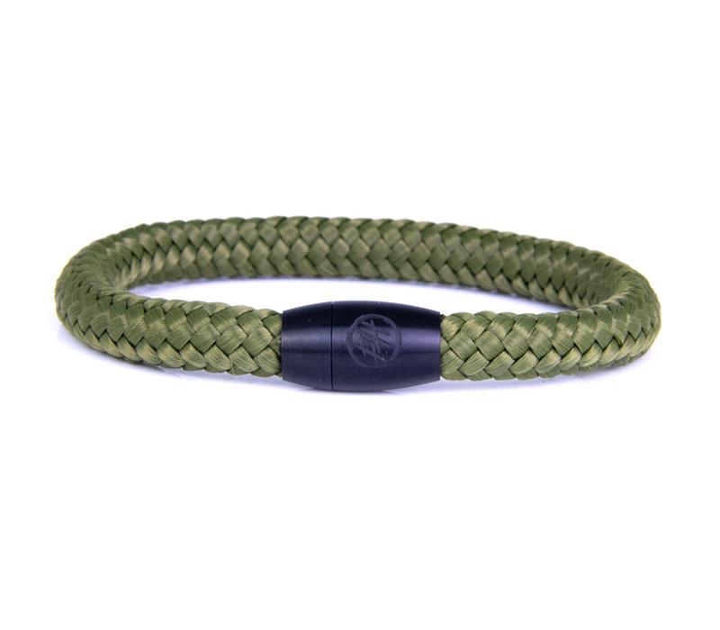 Hard Driver - Green Steel & Rope Bracelet By Bad-Ass Bracelets
