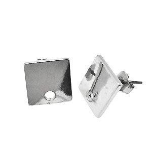 Oorsteker vierkant - Zilverkleur - Rhodium - 11x11mm