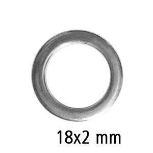 Afgeplatte ring - Zilverkleur - Metaal - 18x2mm