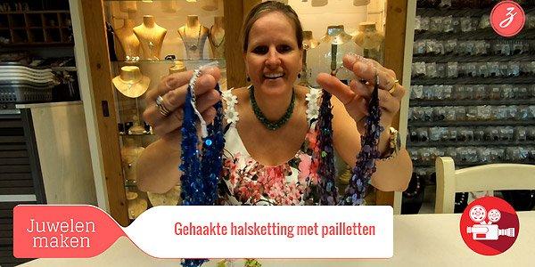 ZandstormTV - Gehaakte halsketting met pailletten
