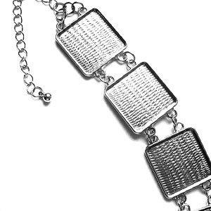 Armband - vierkant plateau - 20mm - Rhodium