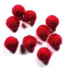 Pompon met hangeroog - Donker rood - Bont - 15mm