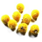 Pompon met hangeroog - Geel/goud - Bont - 15mm