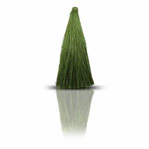 Lange kwast - Olijfgroen - Zijde - 7cm