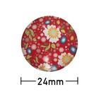 Kleefcabochon - Rond - Bloemen op rood - 24mm