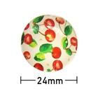 Kleefcabochon - Rond - Rode kersen - 24mm