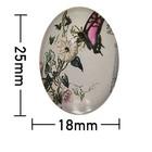 Kleefcabochon - Ovaal - Vlinder op bloem - 18x25mm