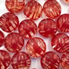 Coin - Transparant rood lijntjes - Murano glas - 12mm