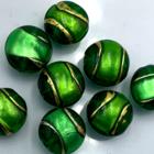 Coin - Donker groen goud lijn - Murano glas - 12mm