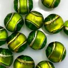 Coin - Groen gouden lijn - Murano glas - 12mm