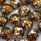 Coin - Zilver bruin sparkel - Murano glas - 12mm