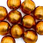 Coin - Bruin gouden kern - Murano glas - 14x10mm