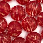 Coin - Transp rood lijntjes - Murano glas - 14x10mm