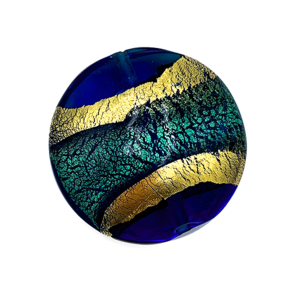 Reuze coin - Blauw turquoise goud - Murano glas - 37.50x15.4mm