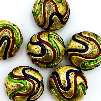 Coin - Goud met kleuren - Murano glas - 18x9.5mm