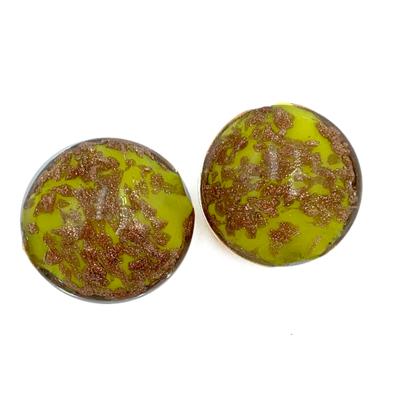 Coin - Geel goud sparkel - Murano glas - 20x12.2mm