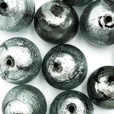 Bol - Grijs zilver kern - Murano glas - 15.2mm