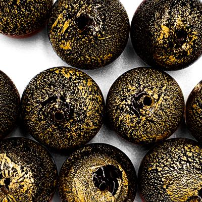 Bol - Zwart/ olijfgroen - Murano glas - 15.2mm