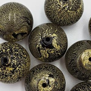 Bol - Zwart olijfgroen - Murano glas - 16mm
