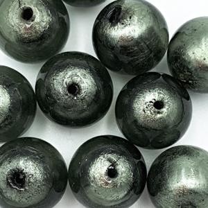 Bol - Grijs zilver kern - Murano glas - 16mm