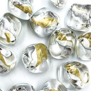 Onregelmatig - Tr. wit goud - Murano glas - 17.8x18.10mm