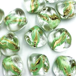 Onregelmatig - Tr. groen goud - Murano glas - 17.8x18.10mm