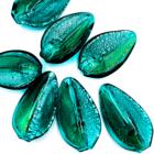 Hanger blaadje - Groen - Murano glas - 31.6x18mm