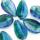 Hanger blaadje - Turquoise/groen - Murano glas - 31.6x18mm