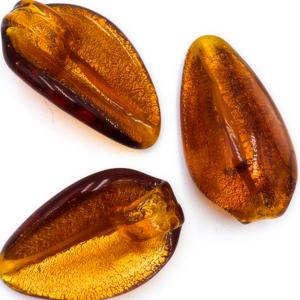 Hanger blaadje - Amber int goud - Murano glas - 31.6x18mm