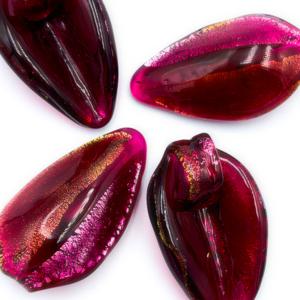 Hanger blaadje - Rood/roze - Murano glas - 31.6x18mm