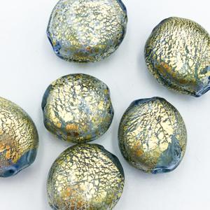 Coin Holle Kraal - Olijf / Goud - Murano Glas - 14x10mm