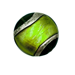 Grote coin - Grasgroen goud lijn - Murano glas - 27.4mm