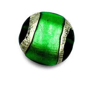 Grote coin - Donk.groen goud lijn - Murano glas - 27.4mm