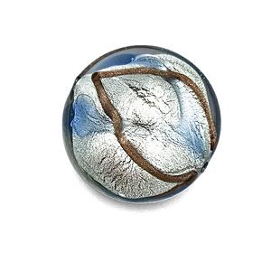 Grote coin - Grijs/blauw/koper - Murano glas - 27.4mm
