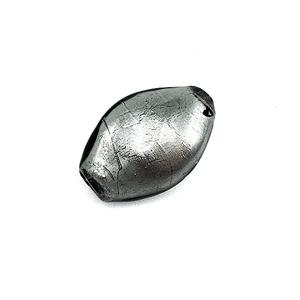 Getorste ovaal - Grijs /zilver - Murano glas - 24.5x16.8mm