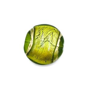 Grote coin - Groen gouden lijn - Murano glas - 27.4mm