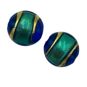 Coin - Blauw/groen/goud - Murano glas - 19mm