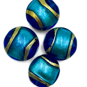 Coin - Blauw/turq/goud - Murano glas - 19mm