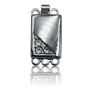 Inschuifslot 3 ogen & crystal - Rhodium - 18x9mm - Metaal