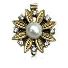Inschuifslot bloem & parel & crystal - Goudkleur - 20mm - Metaal