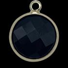 Hanger rond - Zwart/goud - Glas facet - 18x15mm