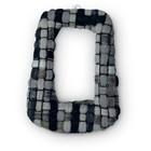 Rechthoek textiel - Zwart wit tint - Textiel/metaal - 42x30mm