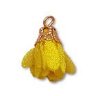 Hanger bloem - Geel/goud - Metaal/stof - 17mm